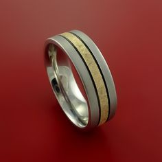 Cobalt Chrome and 14K Yellow Gold Wedding Band Engagement Ring Made to Any Sizing and Finish 3-22
