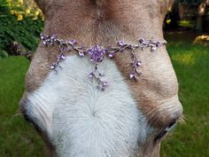 Purple Lilac Rhinestones Browband for Horse Draft Pony or