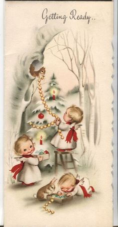 Vintage Christmas Card : Little Angels and Animal Decorating Christmas Tree