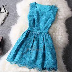 Beautiful Aqua dress-- pretty for summer or winter (just add leggings a cardigan and boots). Pretty Outfits, Pretty Dresses, Beautiful Dresses, Cute Outfits, Beautiful Gifts, Pretty Clothes, Cute Fashion, Retro Fashion, Fashion Outfits