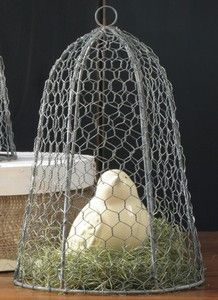 Chicken Wire Cloche via urban farmhouse Urban Farmhouse, Farmhouse Chic, French Farmhouse, Picnic Decorations, Chicken Wire, Topiary, Modern Rustic, Hanging Chair, Decor Styles