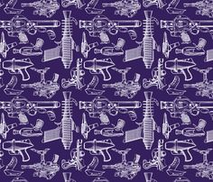 Ray Gun Revival (Dark Purple) fabric by studiofibonacci on Spoonflower - custom fabric