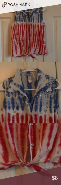 Justice Girls Size 18 Red White Blue Top Good, clean condition. No rips, tears or stains. Comes from smoke free home. Shop.Bundle.Save.Like.Share. Thanks for stopping by my closet! Justice Shirts & Tops Tank Tops