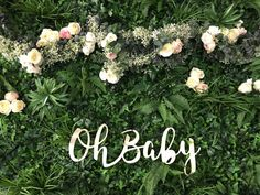 Babyshower Backdrop inspo with personalised laser sign