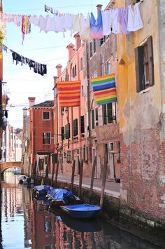Laundry over the canal in Venice, Italy