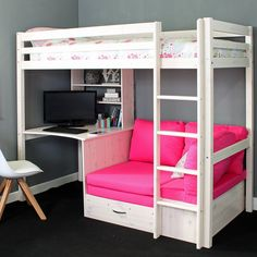 Cutler European Single High Sleeper Loft Bed with Shelf and Desk Loft Beds For Teens, Bunk Beds For Girls Room, Bunk Bed With Desk, Girls Bedroom, Girl Rooms, Kid Beds, Cool Rooms For Girls, Teen Loft Beds, Girl Loft Beds