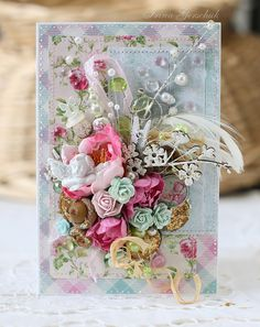 Spring flowers card by Irina Gerschuk, featuring Scrap FX chipboard:  Mini blossom stem and budding branches.  www.scrapfx.com.au