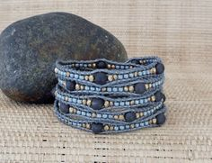 Unique Beaded Leather Wrap Bracelet: Mixed Metals/Druzy