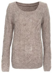 Sweter damski długi rękaw kolor brązowy SSW1255 - Odzież TOP SECRET