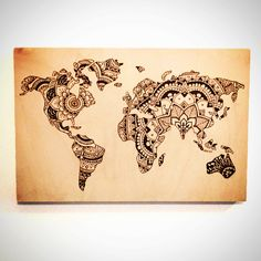 """12""""x18"""" Wood Burned Sign - World Map Mandala - Home Decor by TheSourPeach on Etsy"""