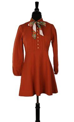 bcc1deaabf5a Vintage 1960's Japanese Baby-doll Dress / Micro Mini / Orange Crepe /  Paisley Kitten Bow / Tokyo Harajuku Fashion / Carnaby St London MOD