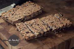 Frozen Granola Bars - Banana, Peanut butter, Coconut Oil, Maple Syrup, Oats, Shredded Coconut, Chocolate Chips, and Raisins