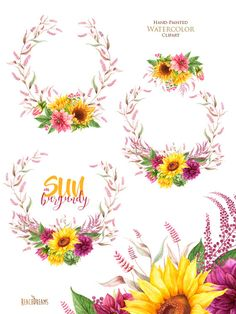 This set of high quality hand painted watercolor wreaths, sunflowers with dahlias Perfect graphic for wedding invitations, greeting cards, photos, posters, quotes and more.  Item details:  3 PNG files. (300 dpi, RGB, transparent background) wreath size (larger side) aprox.: 19 inch, 5700 px ----------------------------------------------------------------  all sets with s SUNFLOWERS: https://www.etsy.com/shop/ReachDreams?ref=hdr_shop_menu&search_query=sunflowe...