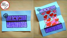 DIY slider paper game: how to draw a surprise box full of hearts | Easy ...