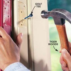 Thanks The Family Handyman for the DIY Tip of the Day: Fix a Loose Hinge. Most loose hinges are caused by stripped screw holes. Remove the loose hinge from the door and frame. Remove only one hinge at a time. Squirt wood glue on a golf tee and tap it into the stripped hole until tight. When dry, reattach the hinge and screws. Screwing through the golf tee will cause it to expand and tighten the, restoring your doors to proper working condition.