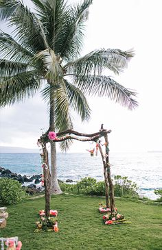 Hawaiian Beachfront Watercolor Wedding