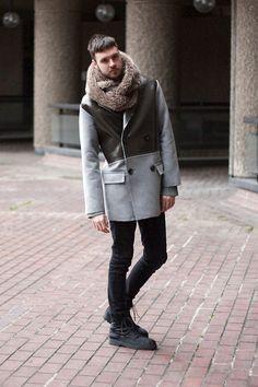 Marks & Spencer Fur Snood, Topman Pea Coat, Ragged Priest Jumper, Open Jeans, Topman Boots