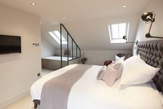 Conley & Co - Loft conversion - Balham, London. House renovation and interior design. Master bedroom with ensuite and walk-in wardro. Attic Master Bedroom, Attic Bedroom Designs, Attic Bedrooms, Bedroom With Ensuite, Bedroom Layouts, Bedroom Loft, Attic Bathroom, Bedroom Wardrobe, En Suite Bedroom