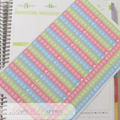 Hearts Checklist Flags-Pink-Green-Blue Set of by PrettylilPlanners