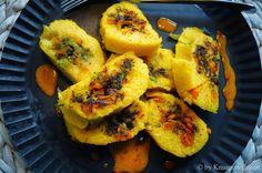 KNUSPERKABINETT: Roulade aus Orangen-Thymian-Polenta mit Broccoli-Kürbis-Füllung und Sanddornvinaigrette