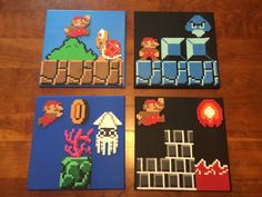 Super Mario scenes perler beads on 10x10 canvas by GrinderJeremy