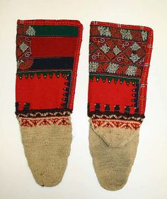Socks  Date: 1800–1939 Culture: Croatian Medium: wool Dimensions: [no dimensions available] Credit Line: Gift of Miss Irene Lewisohn and Mrs. Alice Lewisohn Crowley, 1939 Accession Number: C.I.39.91.71a, b - tops are most likely woven. Afterthought heel with very pretty color band either right at the beginning of the heel or before it is added. Interesting, very gradual, shaping in foot.