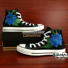 Blue Rose Converse All Star Hand Painted High Top Black Canvas Shoes Blaue Rose Converse All S Black Converse Shoes, Converse All Star, Blue Shoes, Black Canvas Shoes, Blue Canvas, Hand Painted Shoes, Black High Tops, Star Wars, Shoe Art