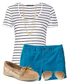 """Pop of Color"" by haileyhartley on Polyvore featuring rag & bone, Banana Republic, Sperry, Gorjana and Ray-Ban"