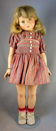 "20"" composition Gloria Ann doll in original clothes, United States, 1936-39, designed by Dewees Cochran, manufactured by Effanbee Doll Company."
