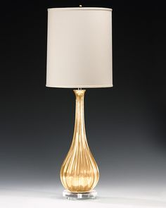 Venetian glass lamp - hand-blown clear and gold one-light Venetian glass lamp with round hardback fabric shade