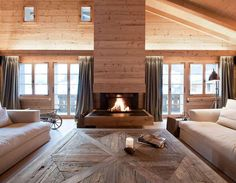 Fireplace, windows to either side//Chalet Gstaad by Amaldi Neder Architectes My Home Design, Home Interior Design, Interior Architecture, House Design, Salon Design, Deco Design, Design Design, Garden Design, Chalet Design