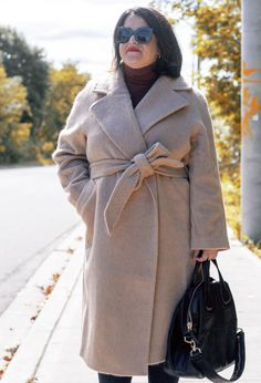 hm wrap coat, camel coat, wool wrap coat outfit, fall winter style, over 40 fashion