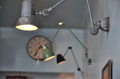 Designed by Corvin Cristian, the Atelier Mecanic (Mechanical Workshop) is a bar made of 1950 to 1970 industrial relics, salvaged leftovers, graphics and or Industrial Lighting, Vintage Lighting, Cool Lighting, Task Lighting, Modern Industrial, Industrial Design, Industrial Industry, Hallway Lighting, Industrial Office