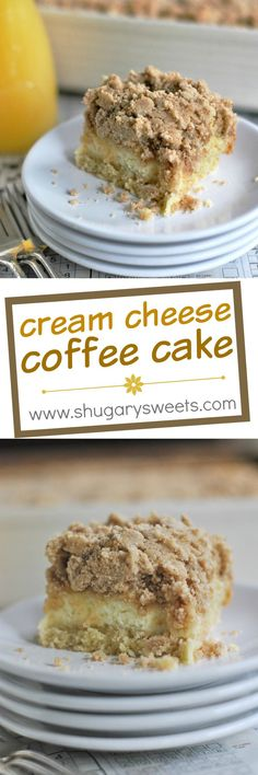 Thick Coffee Cake has a swirl of Cream Cheese filling and a generous layer of Cinnamon Streusel (Cream Cheese Muffins) Cream Cheese Coffee Cake, Cream Cheese Filling, Baking Recipes, Cake Recipes, 13 Desserts, Shugary Sweets, Breakfast Cake, Sweet Bread, Let Them Eat Cake