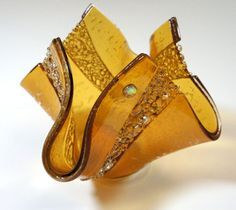 Decoración para el hogar, sostenedor de vela de florero de vidrio fundido - ámbar de oro