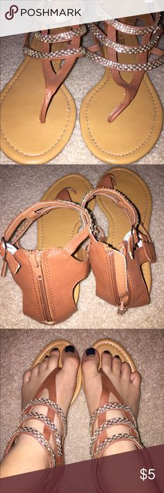 Brown/gold sandals from Burlington Coat Factory!! Very very cute, it was a gift and they are too big for me! :(( (NEVER WORN) Shoes Sandals