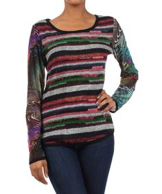 Take a look at this Green & Pink Stripe Long-Sleeve Top by Farinelli on #zulily today!