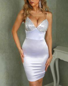 Spaghetti Strap Sequins Bodycon Dress