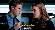 That's genius. / Genius.    Leo Fitz, Jemma Simmons    AOS 1x04 Face My Enemy    245px × 135px    #animated #quotes #fitzsimmons