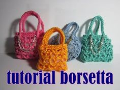 How to Crochet a Mini Tote Bag Materials Needed: Size 10 Crochet Thread Pair of Scissors mm. Crochet Hook The photo tutorial on how to crochet a mini tot. Crochet Gifts, Cute Crochet, Crochet Toys, Crochet Lace, Bandeau Crochet, Crochet Keychain Pattern, Barbie Accessories, Crochet Stitches Patterns, Crochet Videos