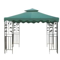 """10x10 ft Garden Gazebo Replacement Canopy Top Green . $75.39. Brand New in Box Ready to Be Installed Upon Arrival. Reinforced Corners to Stand Years of Use. Velcro Attaching Tabs for Conveniently Fixing onto the Frames. Replacement Canopy Top for 10' x 10' Gazebo. Zippered Ventilated Top with Mosquito Netting between Top and Lower Tier. Material: Poly-vinyl. Color: Green ( Ivory Also Available ). Base Tier Dimension: 121"""" x 121"""". Base Tier Upper-opening Dimension:..."""