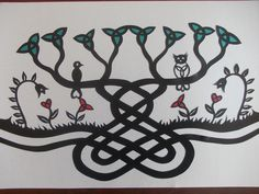Original, hand drawn 'Celtic tree' papercut. Flowers and leaves are cut and backed individually with red and turquoise. By Nina Byers. This design can be personalised to include family names.