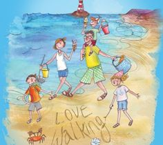 Hi-tec campaign illustration of family on beach