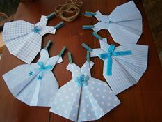 ~*~ Blue Origami Paper Dresses ~*~