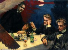 A painting by Akseli Gallen Kallela: Symposion. Characters from the left: Akseli Gallen-Kallela himself (a. Axel Gallén) and composers Oskar Merikanto, Robert Kajanus and Jean Sibelius, trying to solve the mystery of life and the art. Art Database, Triptych, Helsinki, Art History, Oil On Canvas, Graffiti, Fine Art, Symbols, Illustration