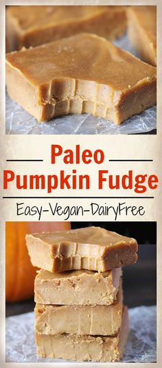 Easy Paleo Pumpkin Fudge- 5 minutes, 6 ingredients, and so delicious! Dairy free, vegan, gluten free.