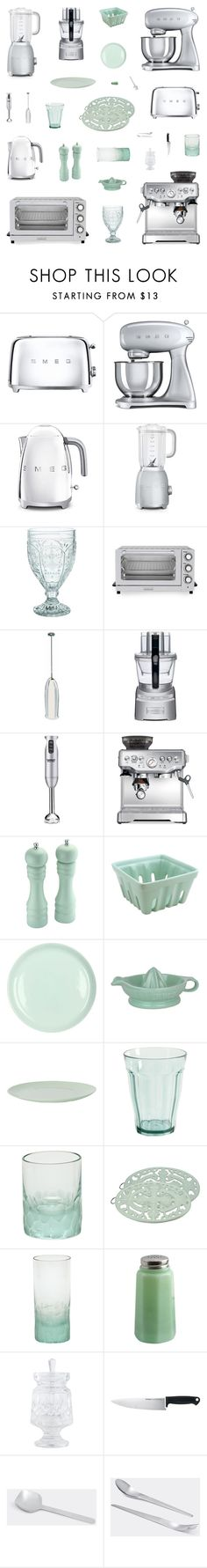 """Mint & Silver Retro Kitchen Decor"" by belenloperfido ❤ liked on Polyvore featuring interior, interiors, interior design, home, home decor, interior decorating, Smeg, Frontgate, Fitz and Floyd and Cuisinart"