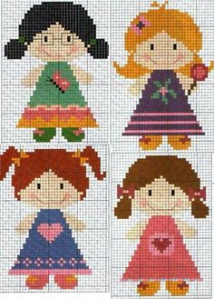 Cross-Stitching Chart: dolls [or you could add some wings, lighten the colours and you've got a sweet collections of angels - or fairies! Cross Stitch For Kids, Cross Stitch Art, Cross Stitch Designs, Cross Stitching, Cross Stitch Embroidery, Cross Stitch Patterns, Crochet Cross, Crochet Chart, Beading Patterns