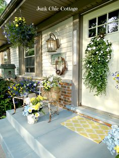 Junk Chic Cottage: Update On Painted Blue Porch