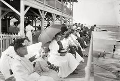 """Backsliders: New Jersey circa 1910. """"At Casino, Belmar, Sunday."""" There was some controversy over whether the beaches at the Jersey Shore resorts should be open on Sunday. 5x7 glass negative, George Grantham Bain Collection. Click to view full size."""